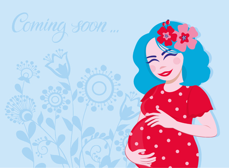 Happy pregnant woman waiting for a child. Motherhood. Vector illustration with beautiful flowers and pregnant women. Gift card with hand lettering coming soon. Happy expectant mother