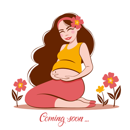 Vector illustration  of pregnant woman touching her big belly. Motherhood, pregnancy, people and expectation concept. Pregnant woman expecting baby Çizim