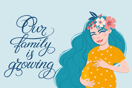Vector illustration of pregnant woman touching her big belly. Hand drawn lettering Our family is growing. Motherhood, pregnancy, people and expectation concept. Pregnant woman expecting baby