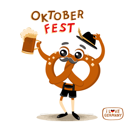 Oktoberfest Cartoon Character Brezel in national German clothes Drinking Beer. Beer festival collection. Autumn festival vector illustration for icon, emblem, sticker, label, badge, sign, certificate or banner decoration