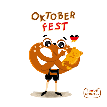 Cute illustration with German Traditional food. Cartoon Character Brezel in national clothes with sweet jelly gummy Bear. Autumn festival vector illustration. Hand drawn lettering Oktoberfest