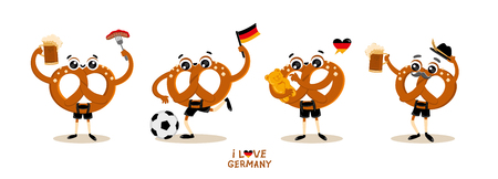 German Traditional food Cartoon Character Pretzel (Brezel) in national clothes. Beer festival collection. Autumn festival vector illustration for placats, banners, gift card, emblem, sticker. Иллюстрация