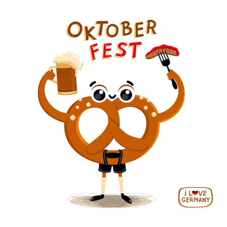Oktoberfest simbol, German Traditional food. Cartoon Character Brezel in national clothes with Beer and bavarian Sausage. Autumn Beer festival. Vector illustration Oktoberfest Party
