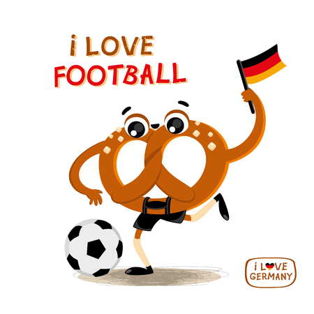 Pretzel (brezel) with a soccer ball and the flag of Germany. Vector illustration with a sport football. Hand drawn phrase I love football. German symbol