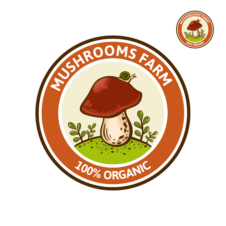 Colored Logo for Porcini Mushroom farm or company. Wild cep, King Bolete mushrooms on ground forest glade. Vector emblem or label for boletus edulis with inscription, organic fungi.