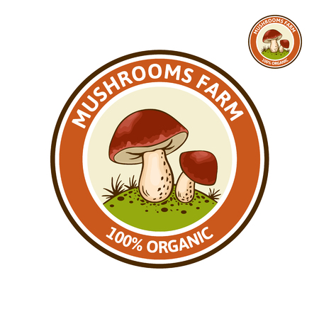 Vector colored Logo with Porcini mushroom (Cep, King Bolete, Boletus edulus) on forest glade. Organic, bio food style. Design element, icon, emblem and badge isolated on white background Иллюстрация