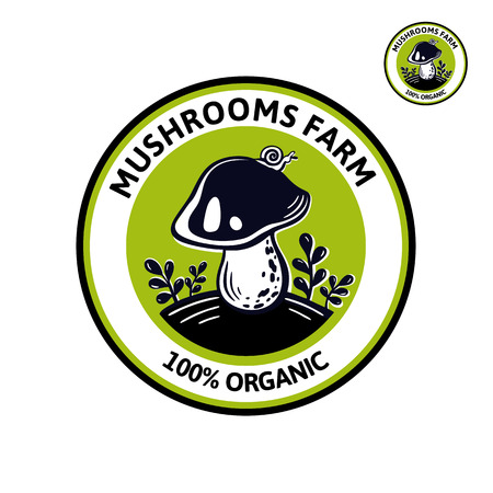Graphic for edibles mushroom of natural food. Cep mushroom vector illustration label. Organic vegetarian product. Great for Market, Farm, Company, form style, product packaging, menu, recipe  イラスト・ベクター素材
