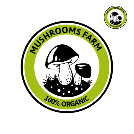 Vector Logo with Porcini mushroom on forest glade. Organic, bio food style. Design element, icon, emblem and badge isolated on white background