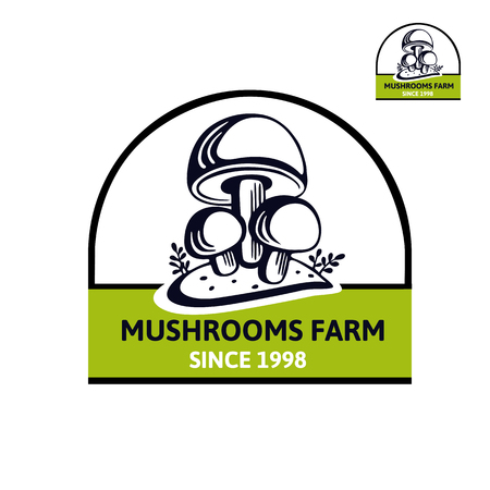 Vector logo with Champignon Mushroom.  Emblem with the companys foundation date. Organic vegetarian product. Element design for bio food Иллюстрация
