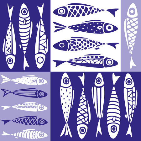 Seamless hand-drawn simple pattern with decorative fish in scandinavian design style. Иллюстрация