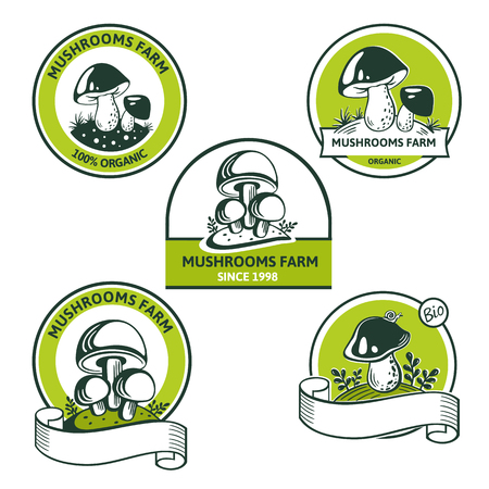Vector Set of Graphic Logo for edibles mushroom of natural food. Organic vegetarian product. Heap greenhouse cultivation fresh mushrooms, farm emblem organic edible fungi with text inscription. Great for Market, Company, form style, product packaging, menu, recipe