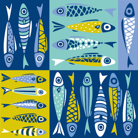 Seamless vector pattern with cute colorful decorative fishes. Abstract sea pattern in flat style
