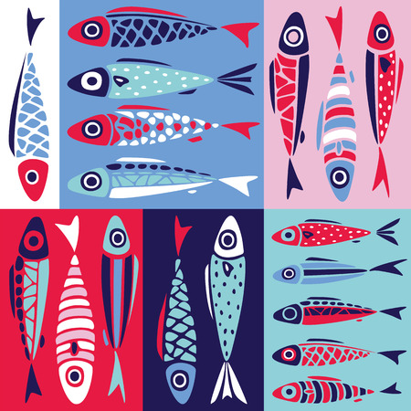 Fish pattern in simples style. Seamless sea vector with cute colorful decorative fishes. Abstract pattern in scandinavian style