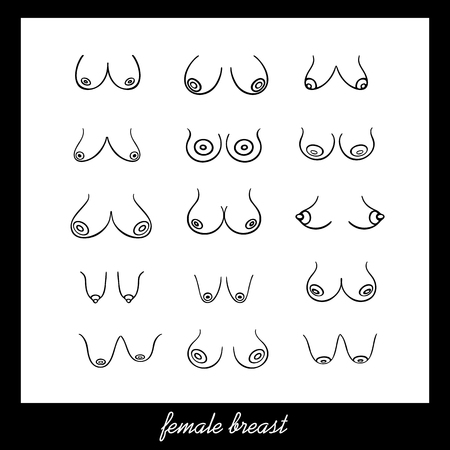 Poster with Female breast of different Types, Sizes and Forms on a white background. Vector Female Breast Set. Illustration in graphic style (hand-drawn) Иллюстрация