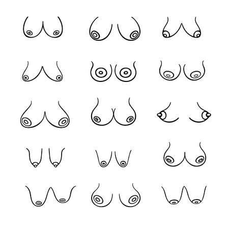 Set of contour round icons of different female breast size, body front view. Various busts sizes, from small to large. Different Types, Size and Form boobs. Vector isolated, monochrome Vettoriali
