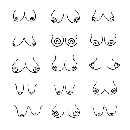 Zestaw ikon kontur okrągłe o różnych rozmiarach kobiet, widok z przodu ciała. Różne rozmiary biustów, od małych do dużych. Różne typy, rozmiary i kształty piersi. Wektor na białym tle, monochromatyczny