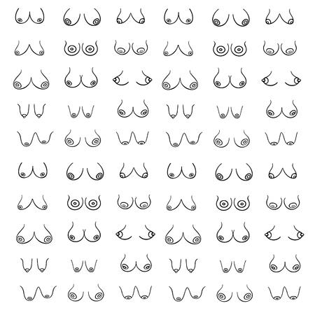 흰색 배경에 다양한 유형, 크기 및 형태의 여성이 있는 섹시하고 에로틱한 인쇄. 그래픽 스타일의 여성 유방 벡터 패턴(손으로 그린). 크리에이티브 일러스트레이션