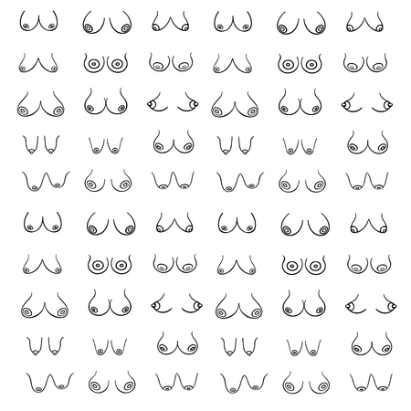Sexy, erotical print wiht Female breast of different Types, Sizes and Forms on a white background. Female Breast Vector pattern in graphic style (hand-drawn). Creative illustration Vettoriali