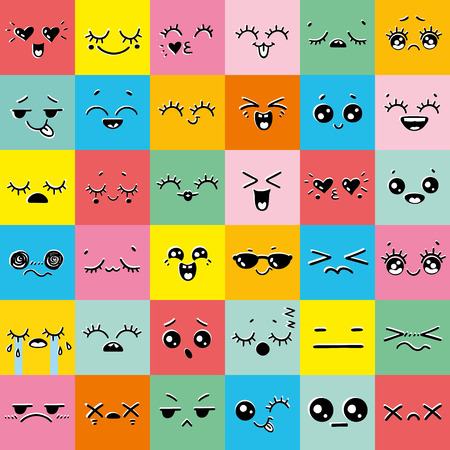 Colorful Set of emoticons or emoji illustration line icons. Kawaii cute smile emoticons and Japanese anime emoji faces expressions. Vector cartoon style comic sketch icons set Иллюстрация