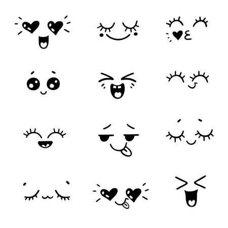 Positive emotions or hand drawn illustration emoji faces expressions. Vector cartoon style comic sketch icons set