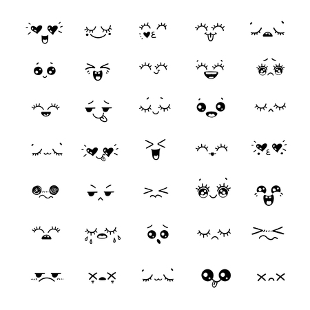 Big Set of different emotions or hand drawn illustration emoji faces expressions. Positive and negative flat icons. Vector cartoon style comic sketch icons set