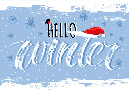 Hello Winter handlettering inscription. Winter elegant modern brush lettering on blue snowflake background. Hand drawn winter inspiration phrase. Vector illustration
