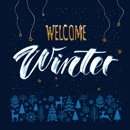 Winter Night template background with hand drawn lettering Welcome Winter. Woodland with falling snow, lights stars, christmas tree, deer. Design for flyer, banner, invitation, congratulation, poster