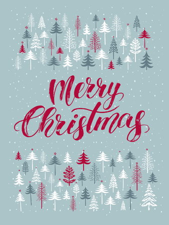 Christmas card with hand drawn lettering Merry Christmas. Winter background with various firs, christmas tree, snow. Design for flyer, banner, invitation, congratulation, poster. Vector illustration Иллюстрация