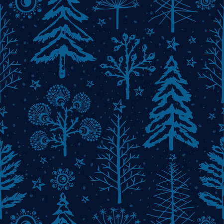 Winter vector seamless pattern, seasons greetings, christmas background with fir-trees, trees