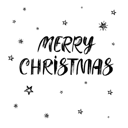 Merry Christmas text. Hand drawn black brush calligraphy on white vector background with stars. Handwritten modern lettering Иллюстрация