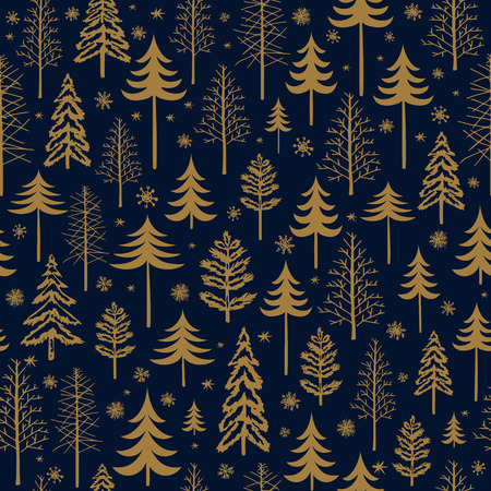 Winter gold seamless Christmas pattern for design packaging paper, postcard, textiles. The vector xmas pattern with the image of fir-trees, trees, bushes covered with snow Иллюстрация