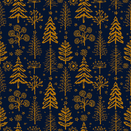 Winter gold seamless Christmas pattern for design packaging paper, postcard, textiles. The xmas pattern with the image of fir-trees, trees, bushes covered with snow