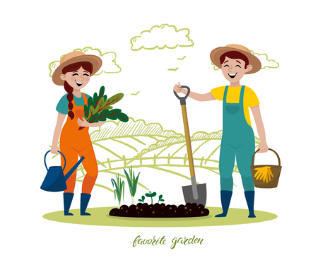 Growing and care of plants. Vector cartoon illustration with young adult man and woman in overalls with shovel, basket and watering can ready to work in the garden. Favorite hobby - gardening plants