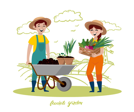 Young couple are working in the garden. There is a wooden box for women and leaves. Vector illustration in a cartoon style.