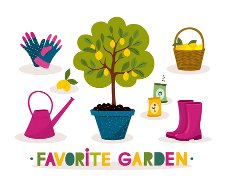 Happy hand drawn gardening banner. Lemon tree, rubber boots and garden tools with lettering in a cartoon style. Illustration with garden tool set. Vector design