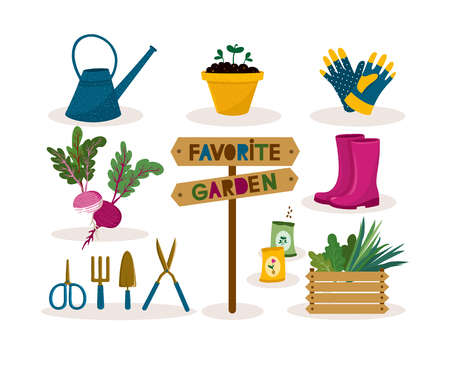 Garden tool set. Vector illustration of gardening elements: spade, pitchfork, scissors, plants, watering can, seedlings in pots, garden gloves and seeds, wooden box for vegetables, rubber boots. Happy gardening design Иллюстрация