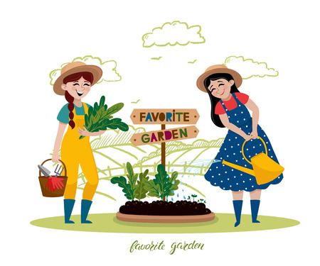 Girls are working in the garden. Vector hand drawn illustrations in cartoon style. People doing garden job - watering, planting, growing, harvesting