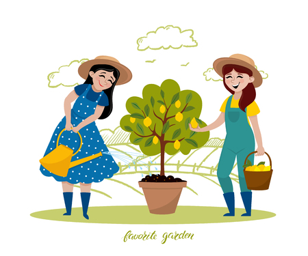 Girls are working in the garden. Vector hand drawn illustrations in cartoon style. People doing garden job - watering, planting, growing, picking fruits, harvesting Иллюстрация