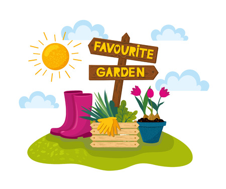 Happy gardening banner with wooden arrow with houseplant in the field. Vector illustration of gardening elements: plants, tulips in potteds, garden gloves, wooden box for vegetables, rubber boots