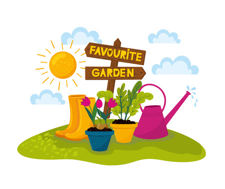 Happy gardening design. Wooden arrow with houseplant in the field. Vector illustration of gardening elements: plants, watering can, seedlings in potteds, garden gloves and seeds, rubber boots