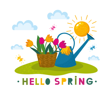 Hello Spring Letter Decorating with plants, flower, tulips in potteds, garden gloves, watering can, basket, butterflies