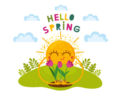 Hello Spring vector template design. Cute sun with spring flowers on sky background. Cartoon illustration. Card for kids.