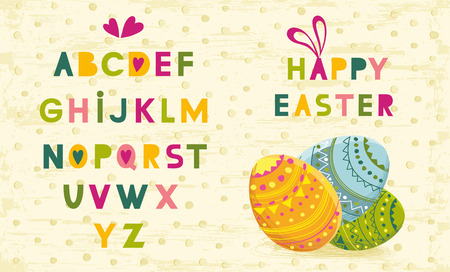Vintage decorative handcrafted font named Happy Easter. Hand drawn font for your business, greetings cards, poster, a party - Vector