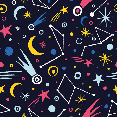 Hand drawn colorfull space seamless pattern. Galaxy  background. Space doodle illustration. Vector illustration. Seamless pattern with cartoon space planets, comets, constellations and stars, zodiac Иллюстрация