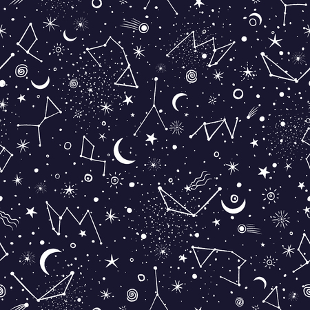Space Galaxy constellation seamless pattern print could be used for textile, zodiac star yoga mat, phone case Иллюстрация