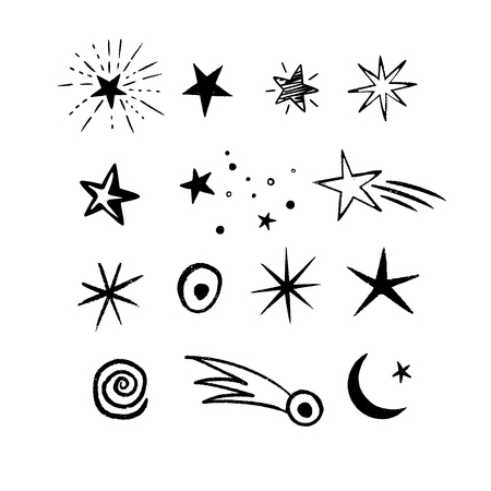 Doodle Space stars set with cosmic objects. Many cute hand drawn stars on white background. Vector illustration for print, textile, paper