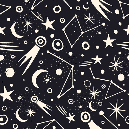 Vector space seamless pattern with planets, comets, constellations and stars. Night sky hand drawn doodle astronomical background Иллюстрация