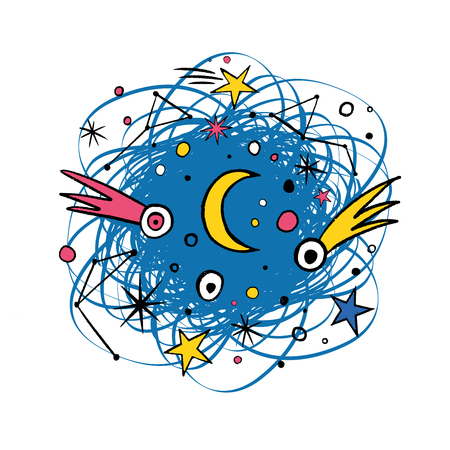 Astronomical template with cosmic objects.  T-shirt design with planets, comets, constellations, stars. Hand drawn doodle shape. Vector illustration for print, textile, paper