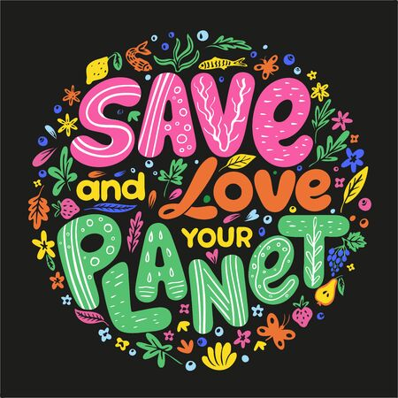 Earth Day advertising and agitating posters. Love and save our planet placards vector illustration. Scale international event