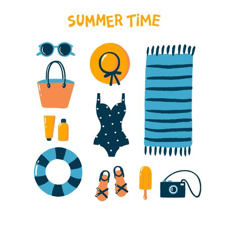 Hand drawn summer womans outfit. Flat style vector. Perfect for web, card, poster, cover, tag, invitation, sticker kit